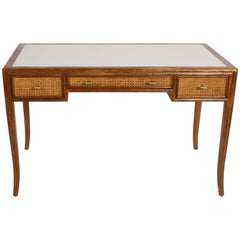 1970s McGuire Furniture Rattan and Caned Desk