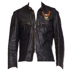1970S BROOKS Black Leather Men's BMW Eagle Patch Biker Jacket