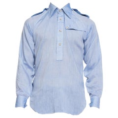 1970S Men's Chambray Popover Shirt With Epaulets