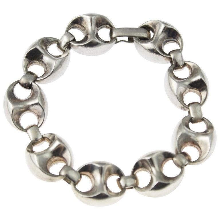 1970s Men's Classic Silver Anchor Link Bracelet For Sale