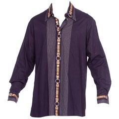 1970'S GINO PAOLI Navy Cotton Men's Disco Shirt With Gucci Belt Print