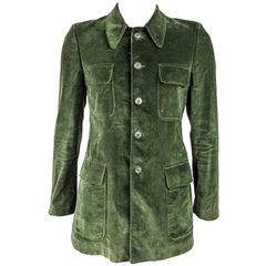 1970s Mens Vintage Green Velvet Mod Jacket