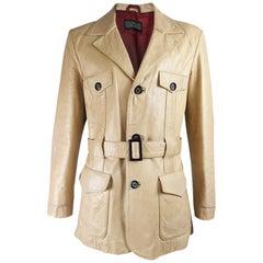 1970s Mens Vintage Leather Norfolk Jacket