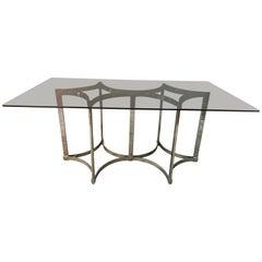 1970s Merrow Associates by Richard Young Chrome and Smoked Glass Dining Table