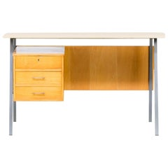 1970s Metal and Wood Writing Desk, Formica Top
