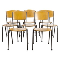 1970's Metal Frame English Stacking School Dining Chairs, Set of Eight