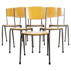 1970's Metal Frame English Stacking School Dining Chairs, Set of Six