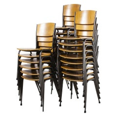 1970's Metal Frame English Stacking School Dining Chairs, Various Qty Available