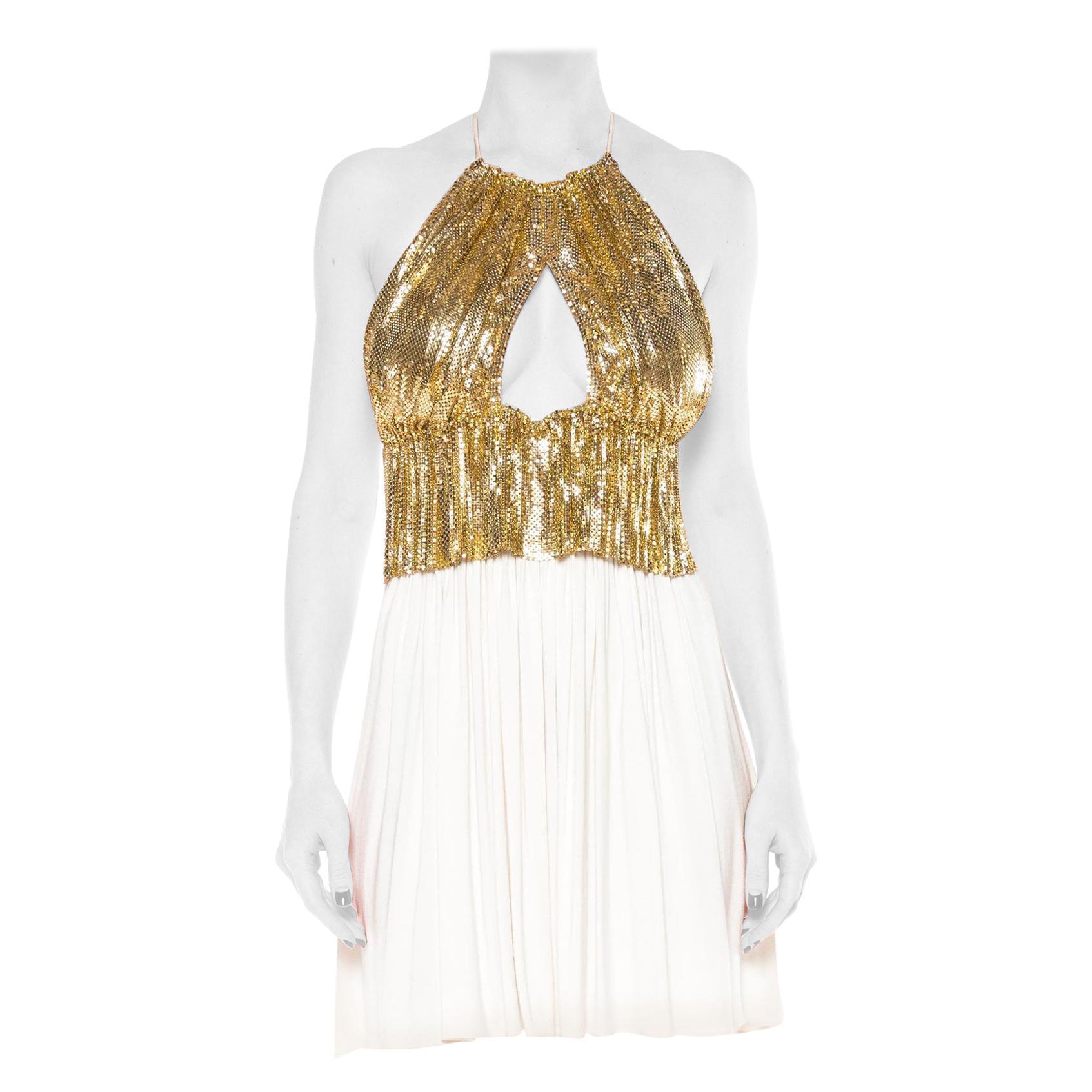 MORPHEW COLLECTION Gold Metal Mesh & Cream Rayon Jersey Halter Dress