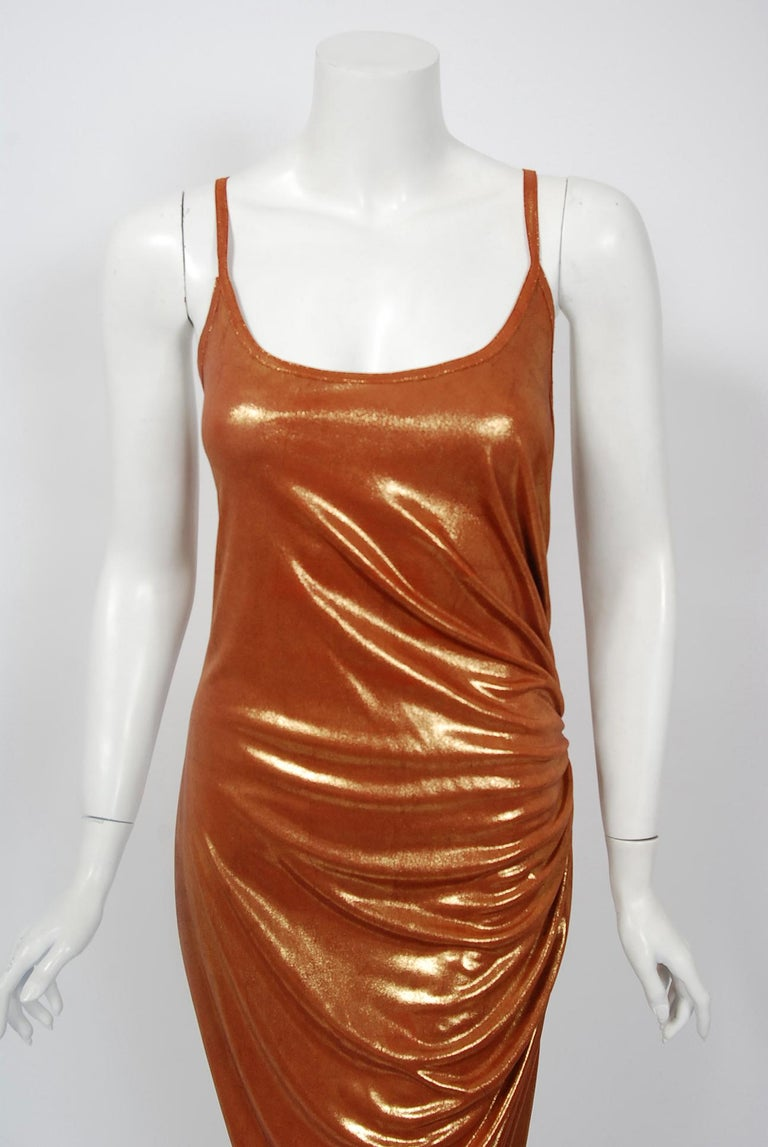 Vintage 1970's Metallic Poly-Lurex Draped Disco Maxi Dress w/ Hood Headscarf In Good Condition For Sale In Beverly Hills, CA