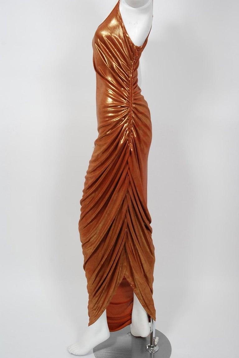 Women's Vintage 1970's Metallic Poly-Lurex Draped Disco Maxi Dress w/ Hood Headscarf For Sale