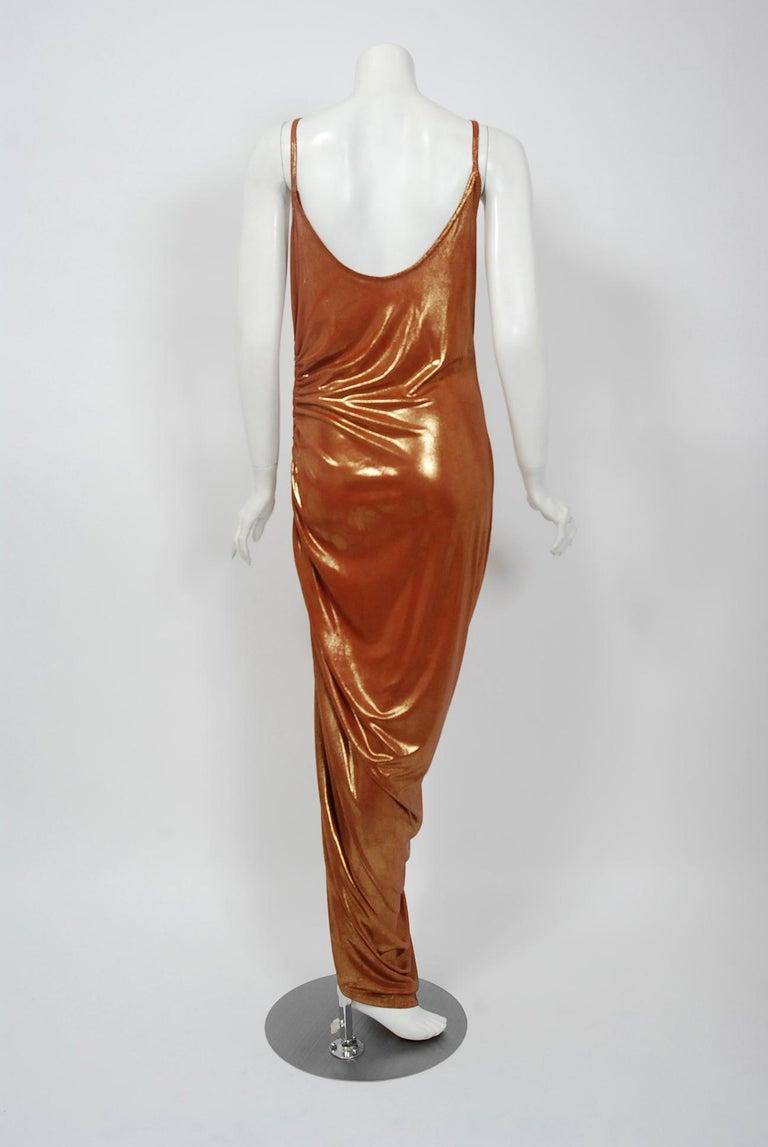 Vintage 1970's Metallic Poly-Lurex Draped Disco Maxi Dress w/ Hood Headscarf For Sale 2