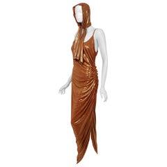 1970's Metallic Bronze Poly-Lurex Draped Disco Maxi Dress w/ Hood Headscarf