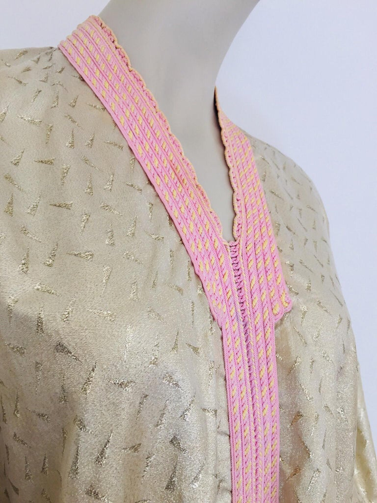 1970s Metallic Gold Moroccan Caftan, Kaftan Maxi Dress North Africa, Morocco For Sale 3
