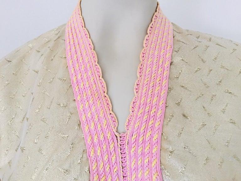 1970s Metallic Gold Moroccan Caftan, Kaftan Maxi Dress North Africa, Morocco For Sale 4