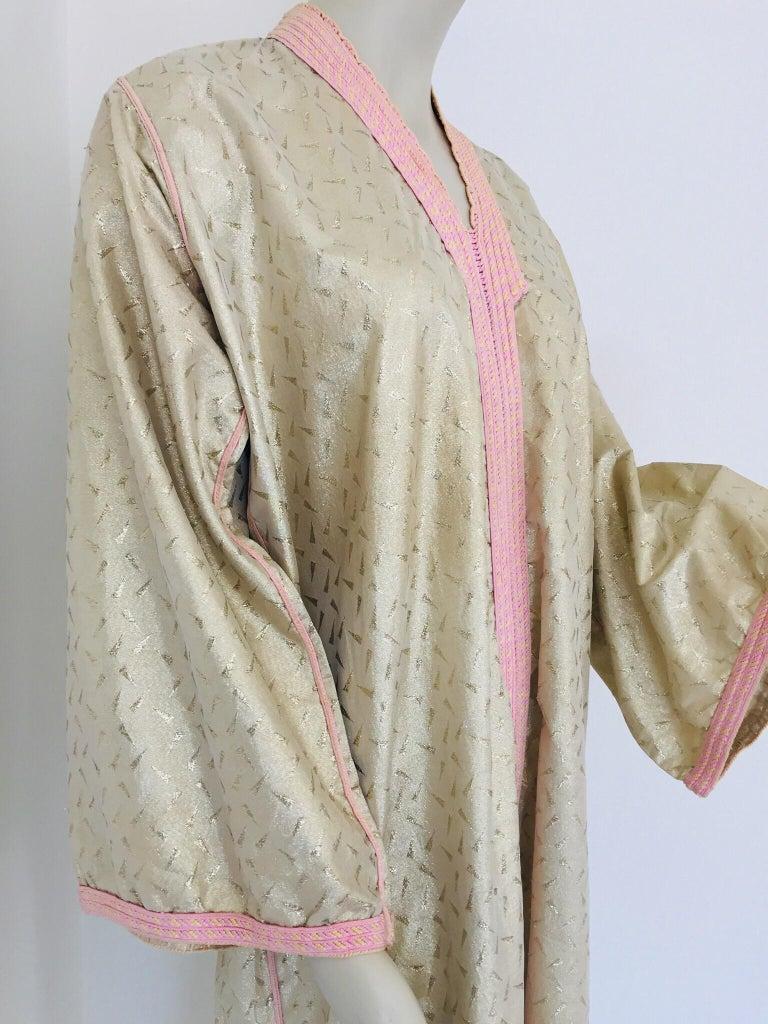 1970s Metallic Gold Moroccan Caftan, Kaftan Maxi Dress North Africa, Morocco For Sale 5