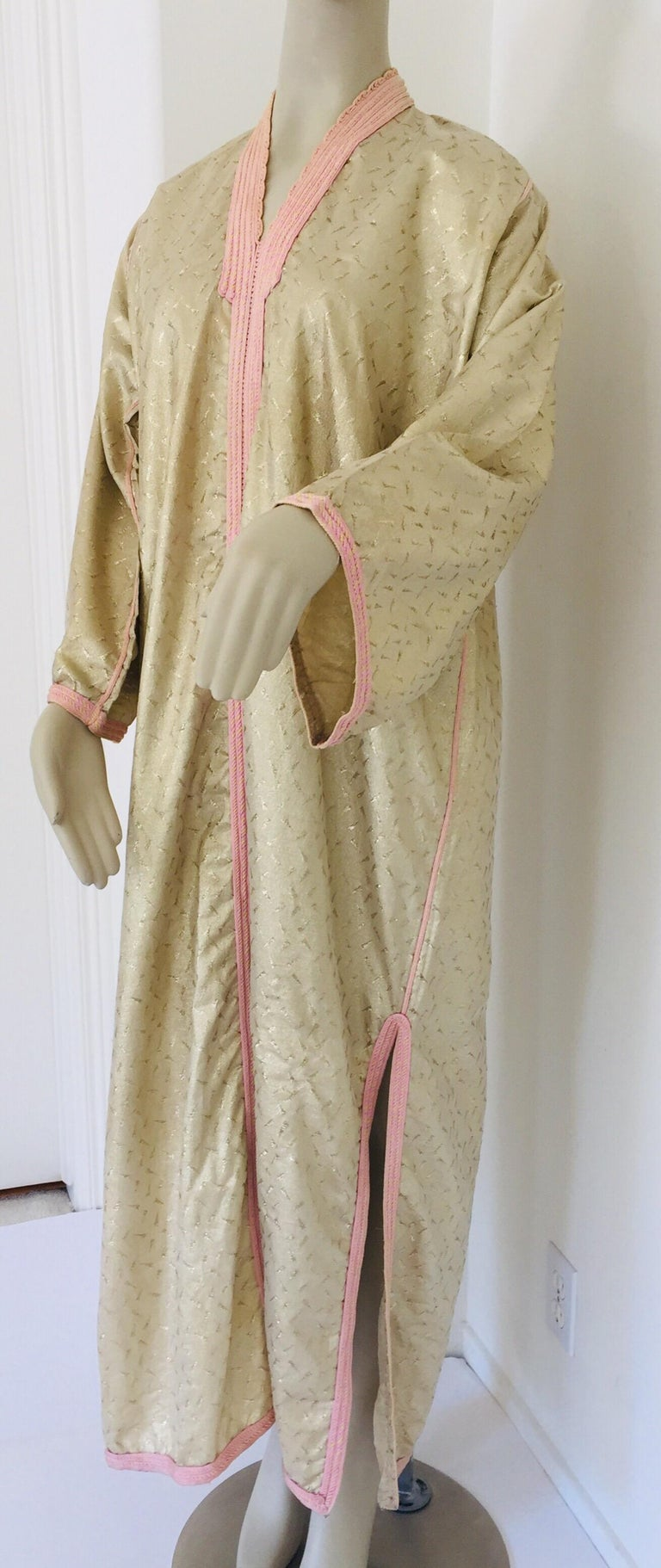 1970s Metallic Gold Moroccan Caftan, Kaftan Maxi Dress North Africa, Morocco For Sale 7
