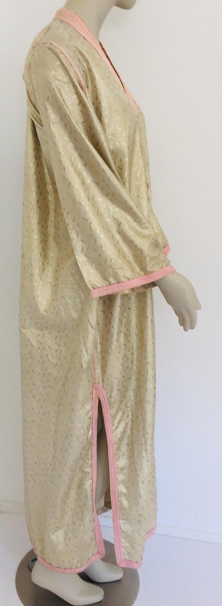 1970s Metallic Gold Moroccan Caftan, Kaftan Maxi Dress North Africa, Morocco For Sale 8
