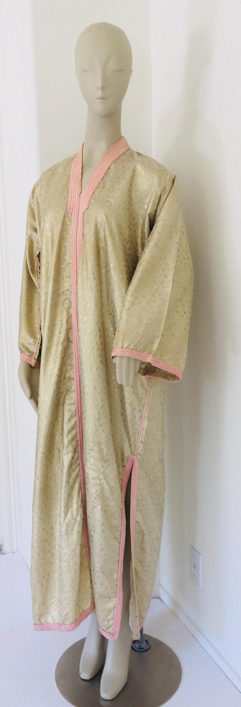 1970s Metallic Gold Moroccan Caftan, Kaftan Maxi Dress North Africa, Morocco For Sale 10