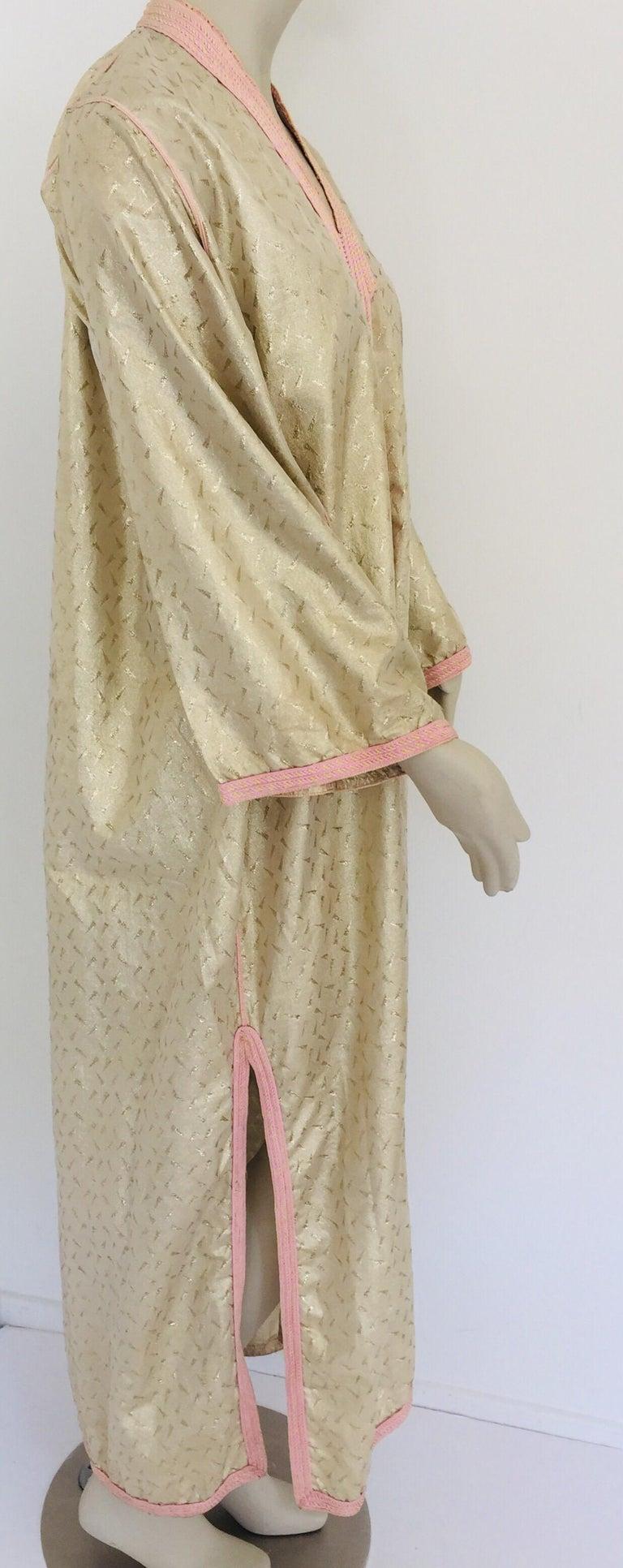 1970s Metallic Gold Moroccan Caftan, Kaftan Maxi Dress North Africa, Morocco For Sale 11