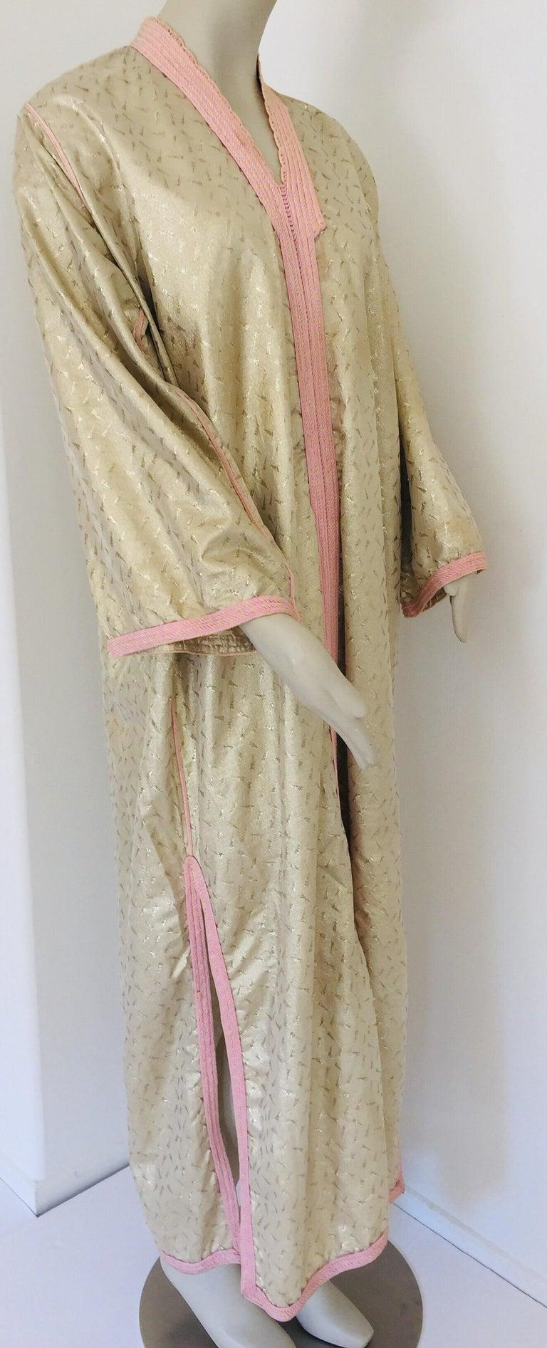 1970s Metallic Gold Moroccan Caftan, Kaftan Maxi Dress North Africa, Morocco For Sale 12