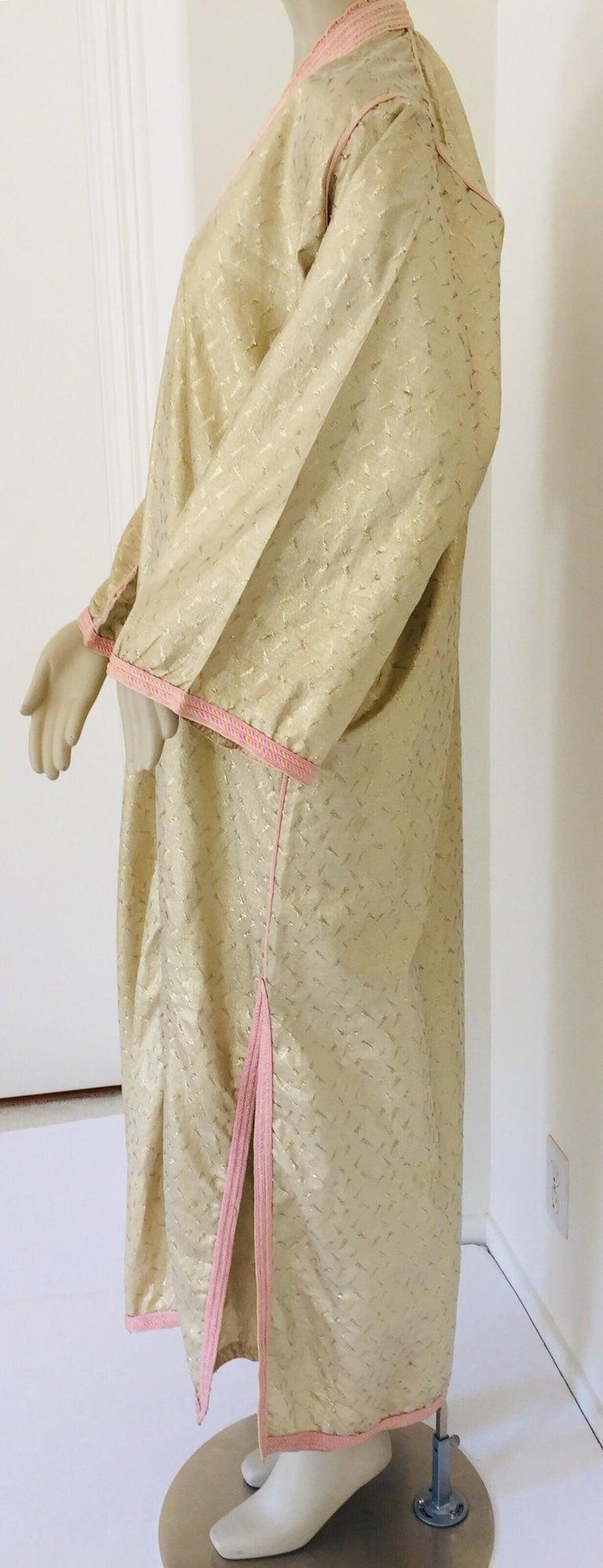 1970s Metallic Gold Moroccan Caftan, Kaftan Maxi Dress North Africa, Morocco For Sale 13