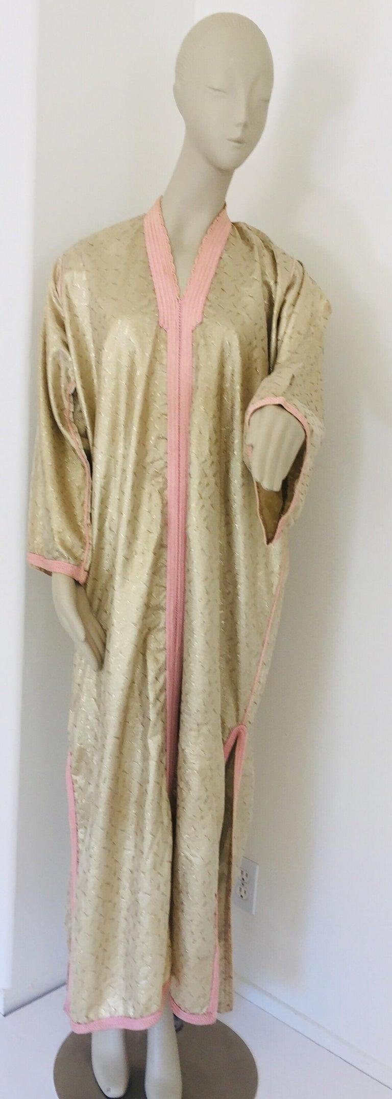 Bohemian 1970s Metallic Gold Moroccan Caftan, Kaftan Maxi Dress North Africa, Morocco For Sale