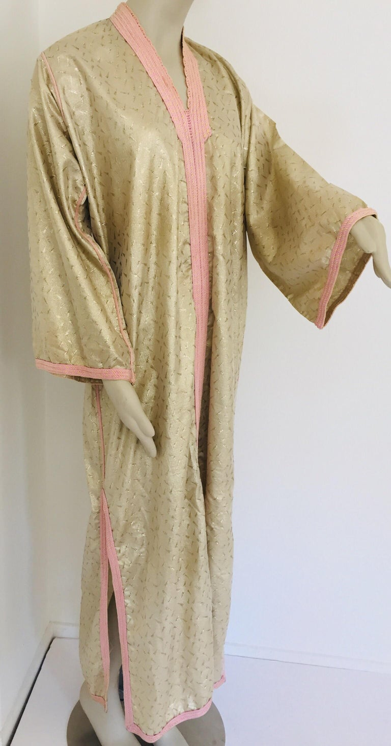 Hand-Crafted 1970s Metallic Gold Moroccan Caftan, Kaftan Maxi Dress North Africa, Morocco For Sale