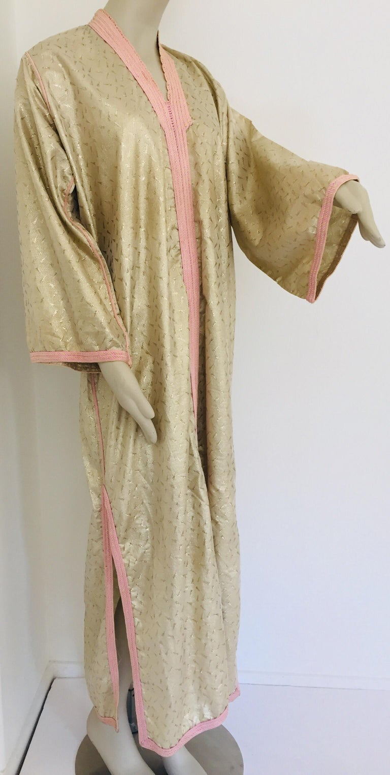1970s Metallic Gold Moroccan Caftan, Kaftan Maxi Dress North Africa, Morocco In Good Condition For Sale In North Hollywood, CA