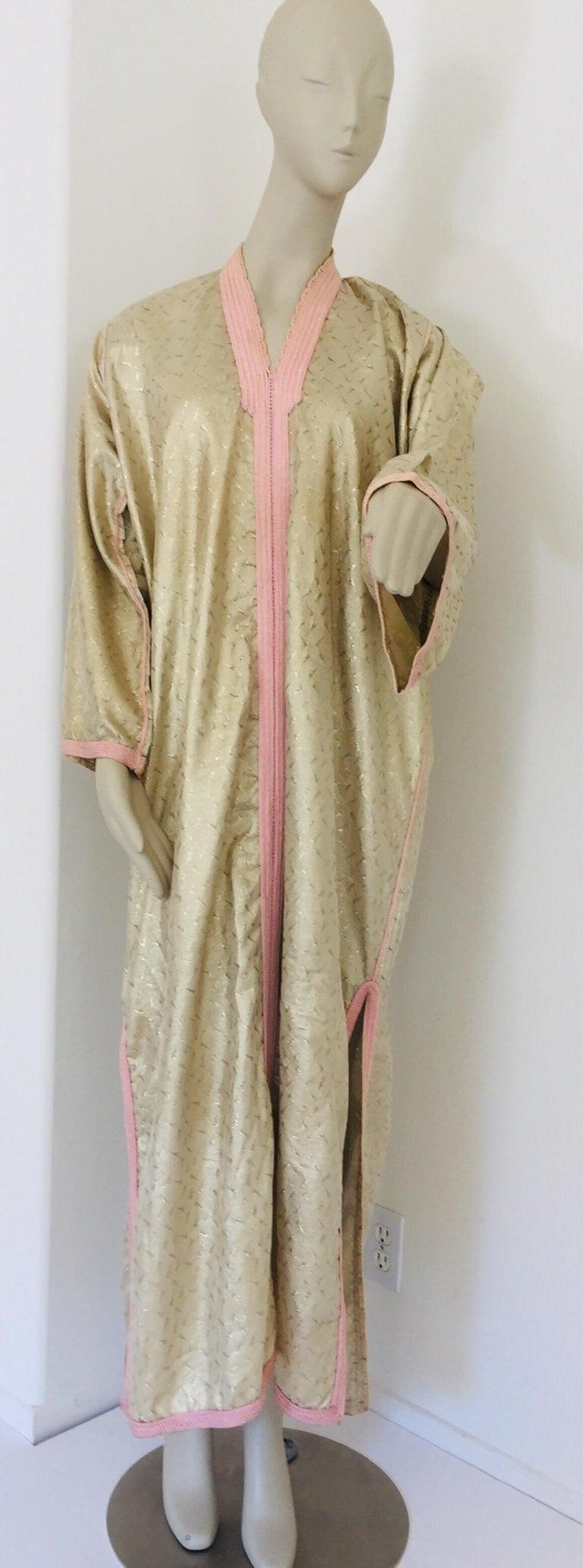 20th Century 1970s Metallic Gold Moroccan Caftan, Kaftan Maxi Dress North Africa, Morocco For Sale