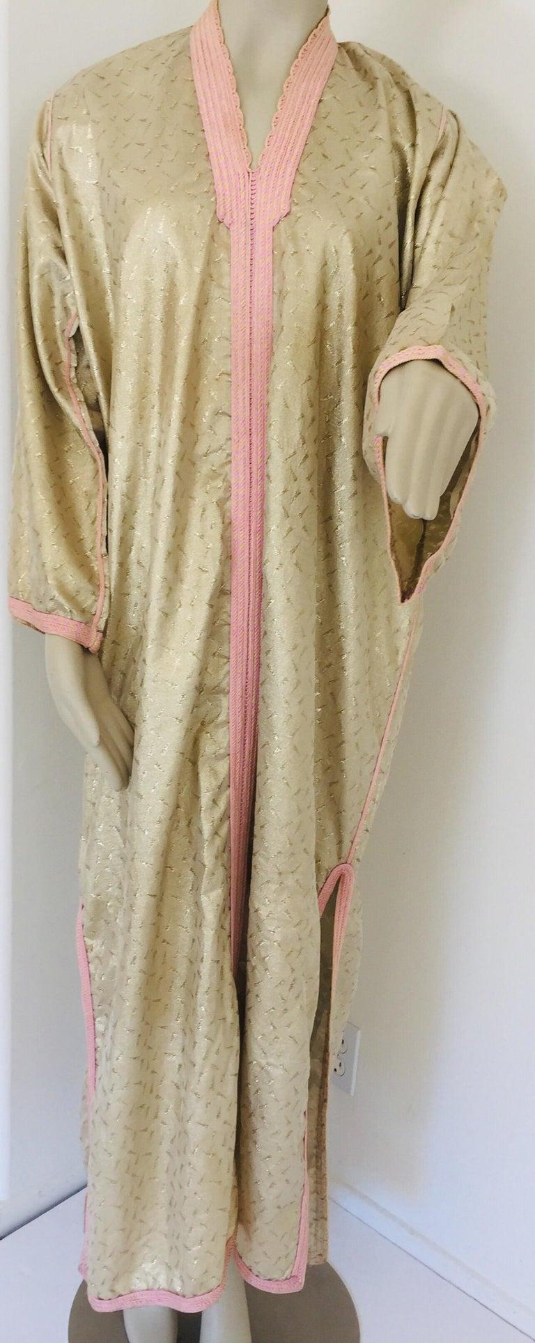 Brocade 1970s Metallic Gold Moroccan Caftan, Kaftan Maxi Dress North Africa, Morocco For Sale