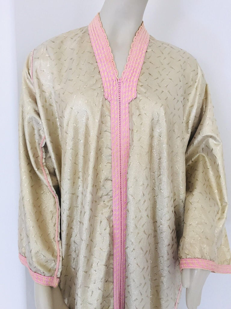 1970s Metallic Gold Moroccan Caftan, Kaftan Maxi Dress North Africa, Morocco For Sale 1