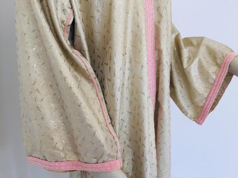 1970s Metallic Gold Moroccan Caftan, Kaftan Maxi Dress North Africa, Morocco For Sale 2