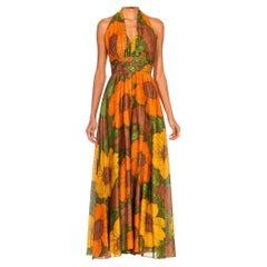 1970S Metallic Gold Rayon/Lurex Orange Floral Printed Halter Top Jumpsuit With
