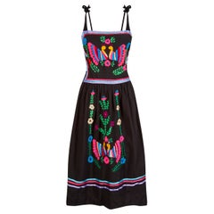1970s Mexican Colourful Hand Embroidered Sun Dress