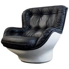 "1970s Michael Cadestin Fiberglass and Leather ""Karate Lounge Chair"""