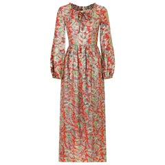 1970s Michael Modelle Gold Lamé Paisley Print Maxi Dress
