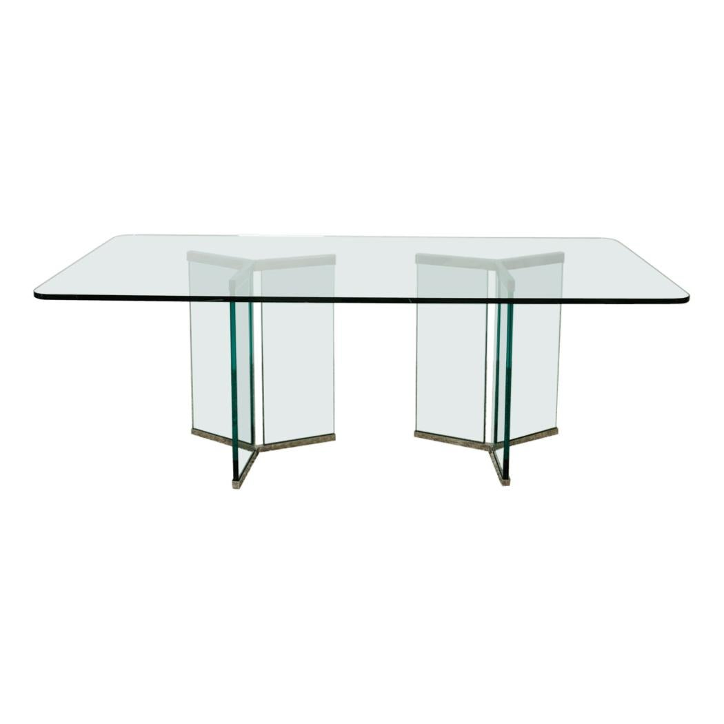 1970s Mid Century Authentic Pace Collection Glass Dining Table