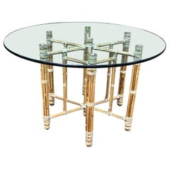 1970s Mid Century Cool McGuire Bamboo Rattan Round Dining Table