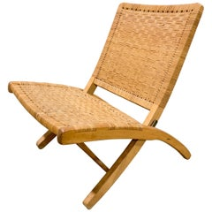 1970s Mid-Century Japanese Folding Cane Lounge Chair