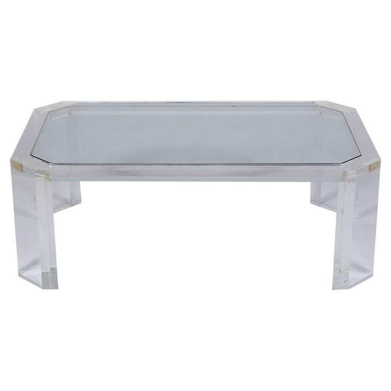 Modern 1970's Mid Century Lucite & Glass Coffee Table For Sale