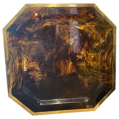 1970s Mid-Century Modern Brass and Fake Tortoise Lucite Octagonal Italian Tray