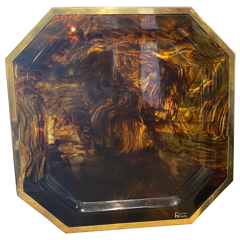 1970s Mid-Century Modern Brass and Fake Tortoise Lucite Octagonal Italian Tray For Sale