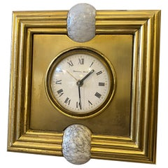 1970s Mid-Century Modern Brass and Murano Glass Table Clock by Tommaso Barbi