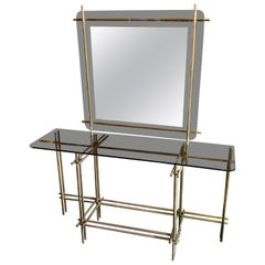 1970s Mid-Century Modern Brass Italian Console and Wall Mirror