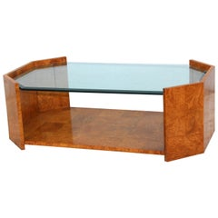 1970s Mid-Century Modern Burl Wood Coffee Table
