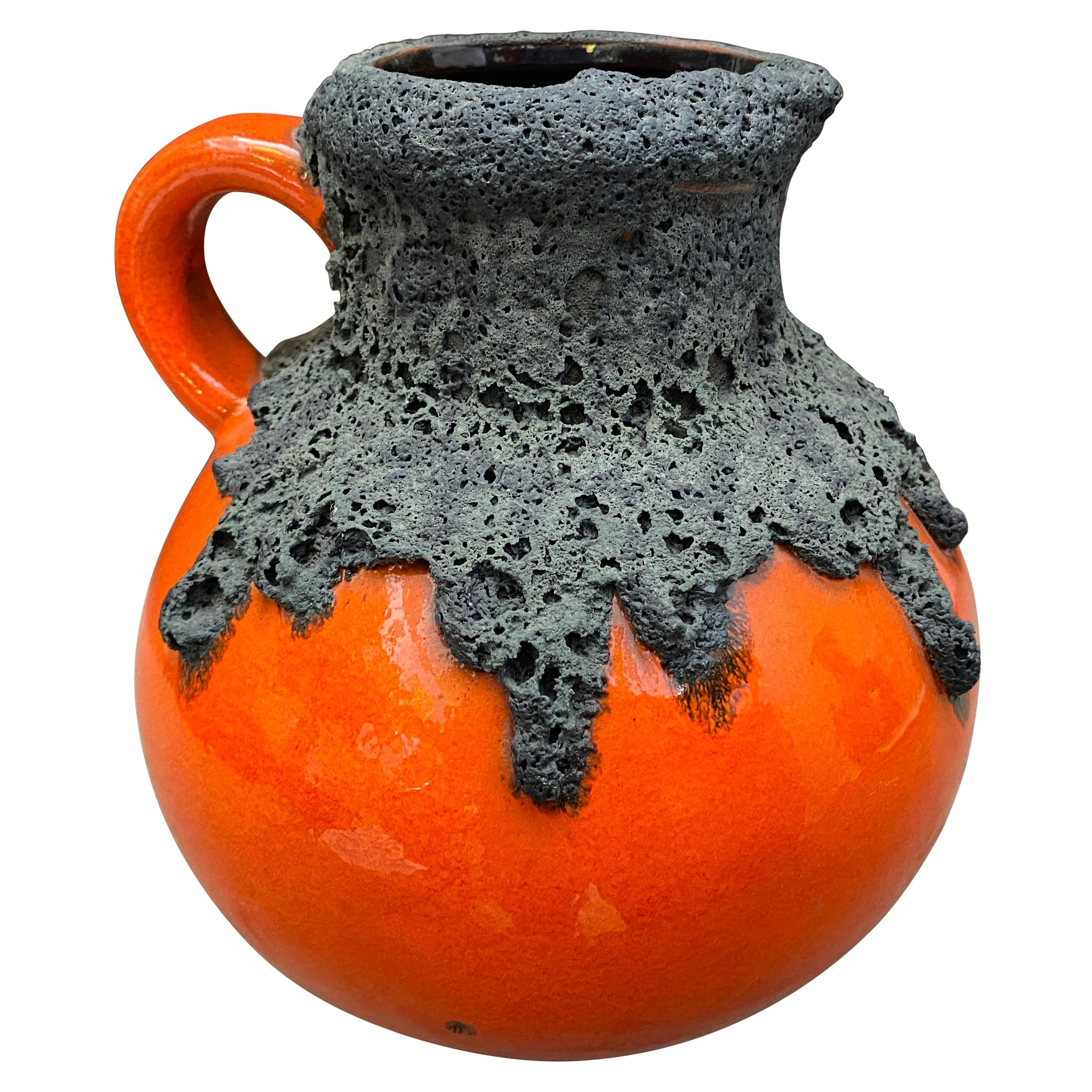 1970s Mid-Century Modern Fat Lava Ceramic German Jug Vase by Roth Keramik