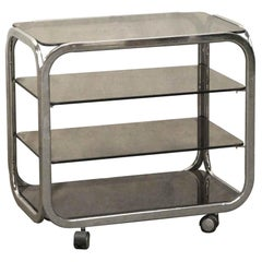 1970s Mid-Century Modern French Four-Tier Chrome Bar Cart with Smoked Glass