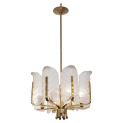 1970s Mid-Century Modern Italian Murano Style Chandelier with Gold Finish