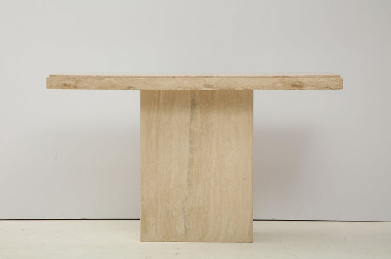 Stunning 1970s Mid-Century Modern travertine console, in vintage original condition with minor wear and patina due to age and use.